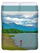Wading In Johnson Lake In Banff Np-alberta Duvet Cover