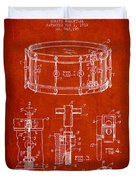 Waechtler Snare Drum Patent Drawing From 1910 - Red Duvet Cover