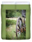 Wagon Wheel In Grass Duvet Cover