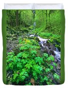 Wahkeena Falls In The Columbia River Gorge Duvet Cover
