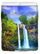 Wailua Falls Kauai Duvet Cover