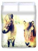 Eager Horses Waiting For Their Simple Dinner Duvet Cover