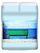 Waiting For Summer - The Green Bench Duvet Cover