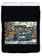 Waiting For The 80 Bus Montreal Memories Winter City Scene Painting January Art Carole Spandau Art Duvet Cover