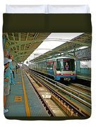 Waiting For The Sky Train In Bangkok-thailand Duvet Cover