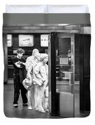 Waiting In Line At Grand Central Terminal 2 - Black And White Duvet Cover