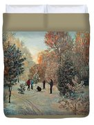 Walk To Skiing In The Winter Park Duvet Cover
