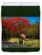 Walking Along The Road. Mauritius Duvet Cover