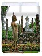 Walking And Sitting Buddha Images At Wat Sa Si In Sukhothai Historical Park-thailand Duvet Cover
