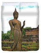 Walking Buddha Image In Wat Sa Si In Sukhothai Historical Park-t Duvet Cover
