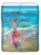 Walking In The Waves Duvet Cover