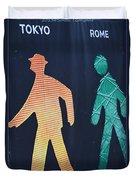 Walking Man Symbol Duvet Cover
