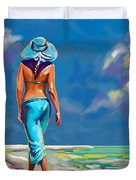 walking on the beach More Color Duvet Cover