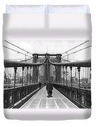Walking On The Brooklyn Bridge Duvet Cover