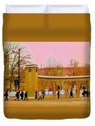 Walking Sherbrooke By Roddick Gates Mcgill Campus View Of Mont Royal Montreal Scenes Carole Spandau  Duvet Cover