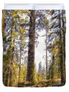 Walking Small In The Tall Forest Duvet Cover