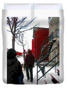 Walking The Dog Through Snowy Streets Of Montreal Urban Winter City Scenes Carole Spandau Duvet Cover