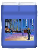 Walking The Indoor Labyrinth In Grace Cathedral In San Francisco-california Duvet Cover