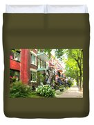 Walking Verdun In Summer Winding Staircases And Pathways Urban Montreal City Scenes Carole Spandau Duvet Cover