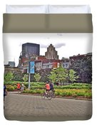 Walkway By Quays Along Saint Lawrence River In Montreal-qc Duvet Cover