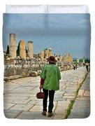Walkway To Harbor In Ephesus-turkey Duvet Cover