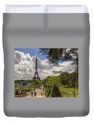 Walkway To The Eiffel Tower Duvet Cover