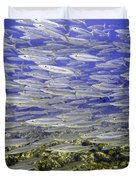 Wall Of Silver Fish Duvet Cover