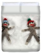 Wally And Petey Snow Angels Duvet Cover