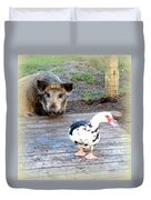 The Pig Want To Be Your Friend, Mr Duck  Duvet Cover