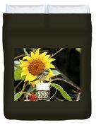 Sunflower And Warbler Bird Duvet Cover