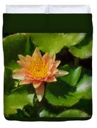 Warm Yellows Oranges And Corals - A Waterlily Impression Duvet Cover