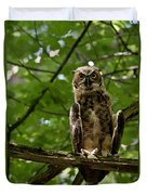 Warm Young Great Horned Owl Duvet Cover