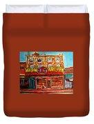 Warshaw's Bargain Fruit Store Rue St Laurent Montreal Paintings City Scene Art Carole Spandau Duvet Cover