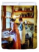 Washing Up After Dinner Duvet Cover
