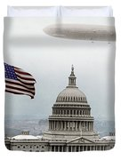 Washington Capitol And Blimp Duvet Cover