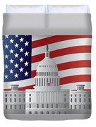 Washington Dc Capitol Us Flag Background Duvet Cover