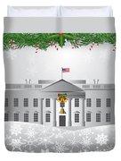 Washington Dc White House Christmas Scene Illustration Duvet Cover