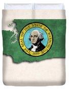 Washington Map Art With Flag Design Duvet Cover