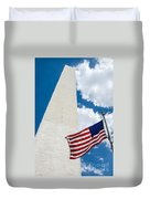 Washington Monument And Flag Duvet Cover