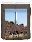 Washington Monument Reflected In Tidal Basin And Surrounded By P Duvet Cover
