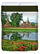 Wat Mahathat Reflection In 13th Century Sukhothai Historical Park-thailand Duvet Cover