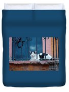 Watchful Cat, Mexico Duvet Cover