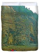 Watching Climbers From Ocean Floor At Cape Enrage-nb Duvet Cover