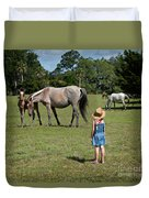 Watching The Wild Horses Duvet Cover