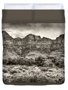 Watchman Trail In Sepia - Zion Duvet Cover