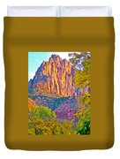 Watchman's Peak In Zion National Park-utah Duvet Cover