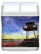 Watchtower On The Beach Duvet Cover