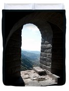 Watchtower Window View From The Great Wall 637 Duvet Cover