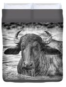 Water Buffalo-black And White Duvet Cover