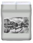 Water Bus Stop Bute Park Cardiff Mono Duvet Cover